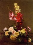 henri fantin latour watercolor paintings - gladiolas and roses by henri fantin latour