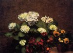 henri fantin latour hydrangias cloves and two pots of pansies prints