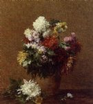 henri fantin latour watercolor paintings - large bouquet of chrysanthemums by henri fantin latour