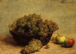 henri fantin latour watercolor paintings - nature morte raisin et pommes d api by henri fantin latour