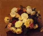 henri fantin latour watercolor paintings - roses 13 by henri fantin latour