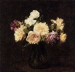 rose original paintings - roses 16 by henri fantin latour
