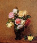 rose original paintings - roses 17 by henri fantin latour