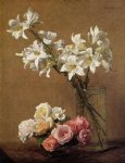 rose original paintings - roses and lilies by henri fantin latour