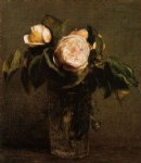 roses in a tall glass by henri fantin latour painting