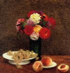 henri fantin latour still life dahlias grapes and peaches painting 32289