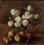 henri fantin latour still life roses and fruit painting 82795