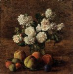 henri fantin latour still life roses and fruit painting 32294