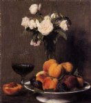 still life with roses fruit and a glass of wine by henri fantin latour painting