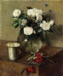 henri fantin latour white roses and cherries by henri fantin-latour paintings