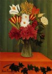 henri rousseau original paintings - bouquet of flowers with an ivy branch by henri rousseau