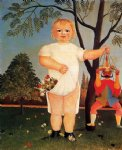 child with puppet by henri rousseau painting