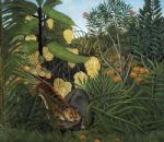 henri rousseau fight between a tiger and a buffalo painting-78810