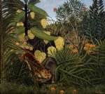 henri rousseau fight between a tiger and a buffalo painting-32050