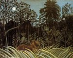 henri rousseau jungle with lion painting 32132