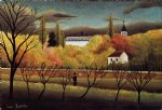 farm acrylic paintings - landscape with farmer by henri rousseau