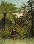 henri rousseau artwork - two monkeys in the jungle by henri rousseau