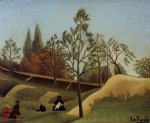 cat acrylic paintings - view of the fortifications by henri rousseau