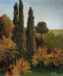 sea famous paintings - walking in the parc des buttes by henri rousseau