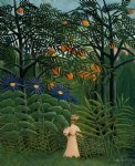forest art - woman walking in an exotic forest by henri rousseau