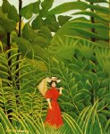 forest art - woman with an umbrella in an exotic forest by henri rousseau
