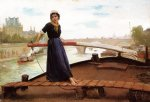 henry bacon acrylic paintings - along the seine by henry bacon