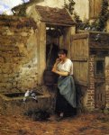 peasant girl and doves by henry mosler painting