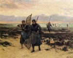 return of the shrimp fishers by henry mosler painting