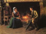 the chimney corner by henry mosler painting