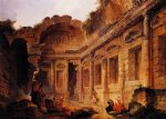 interior of the temple of diana at n锟絤es by hubert robert posters