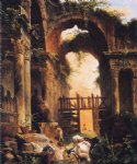 hubert robert famous paintings - roman ruins by hubert robert