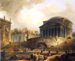 hubert robert famous paintings - vue du port de ripetta a rome by hubert robert