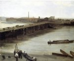 sea famous paintings - brown and silver old battersea bridge by james abbott mcneill whistler