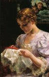 james carroll beckwith art - the embroiderer by james carroll beckwith