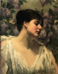 james carroll beckwith art - under the lilacs by james carroll beckwith