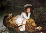 james jacques joseph tissot watercolor paintings - young lady in a boat by james jacques joseph tissot