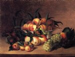 james peale acrylic paintings - grapes apples and bowl of peaches by james peale