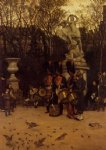 beating the retreat in the tuilleries gardens by james tissot painting