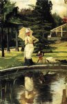 james tissot watercolor paintings - in an english garden by james tissot