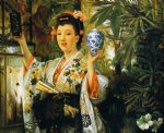 japanese famous paintings - young lady holding japanese objects by james tissot