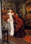 japanese famous paintings - young women looking at japanese objects ii by james tissot