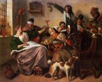 as the old sing so pipe the young by jan steen painting