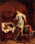 couple in a bedroom by jan steen painting