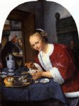 girl offering oysters by jan steen painting