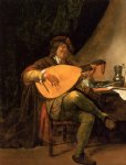 jan steen print - self portrait as a lutenist by jan steen