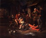jan steen wine is a mocker painting-31486