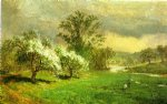 apple blossom time by jasper francis cropsey painting