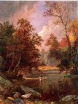 autumn art - autumn river landscape by jasper francis cropsey