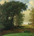 jasper francis cropsey famous paintings - banks of the river by jasper francis cropsey