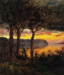 sad acrylic paintings - palisades opposite hastings by jasper francis cropsey